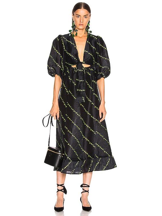 Silk Linen Dress in Black