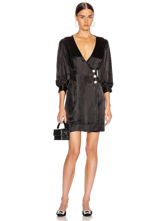 Heavy Satin Dress in Black
