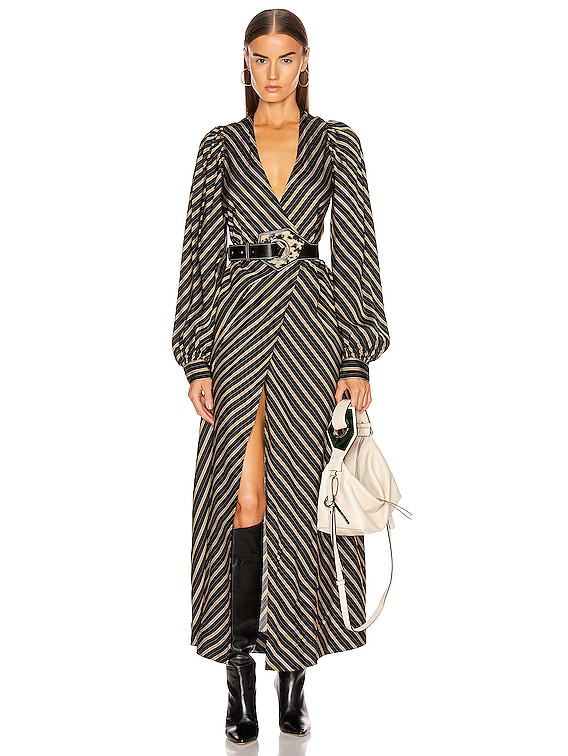 Viscose Stripe Dress in Black
