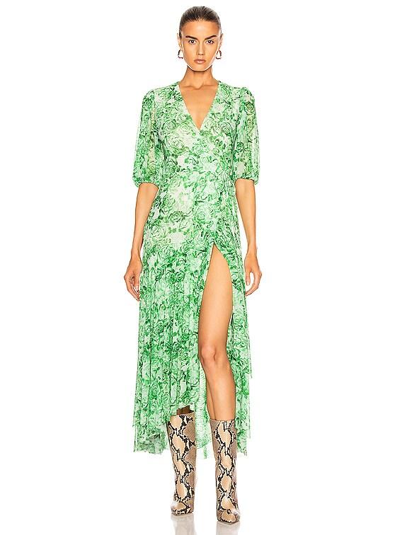 Printed Mesh Dress in Island Green