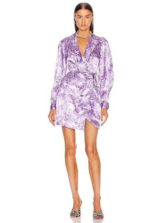 Heavy Satin Dress in Violet Tulip