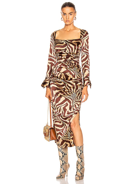 Silk Stretch Satin Dress in Tannin