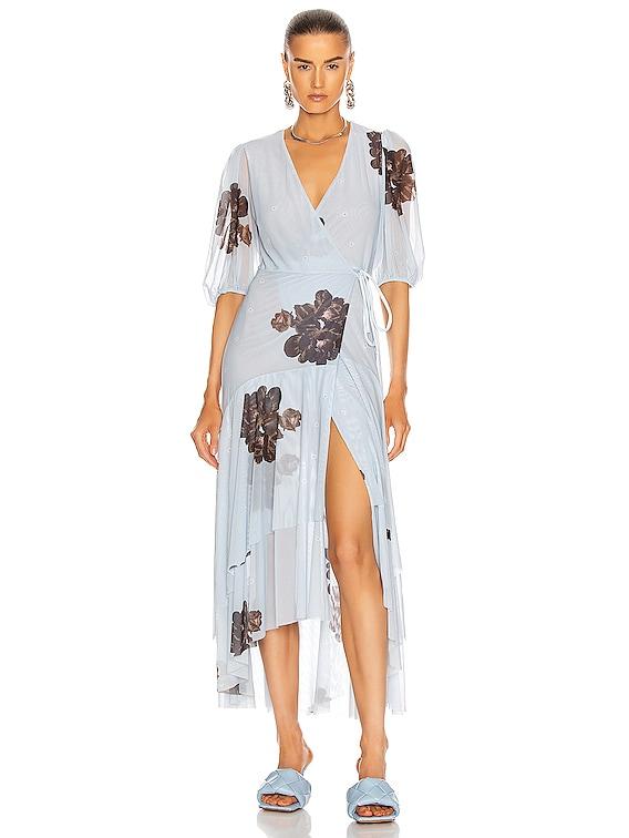 Printed Mesh Dress in Heather