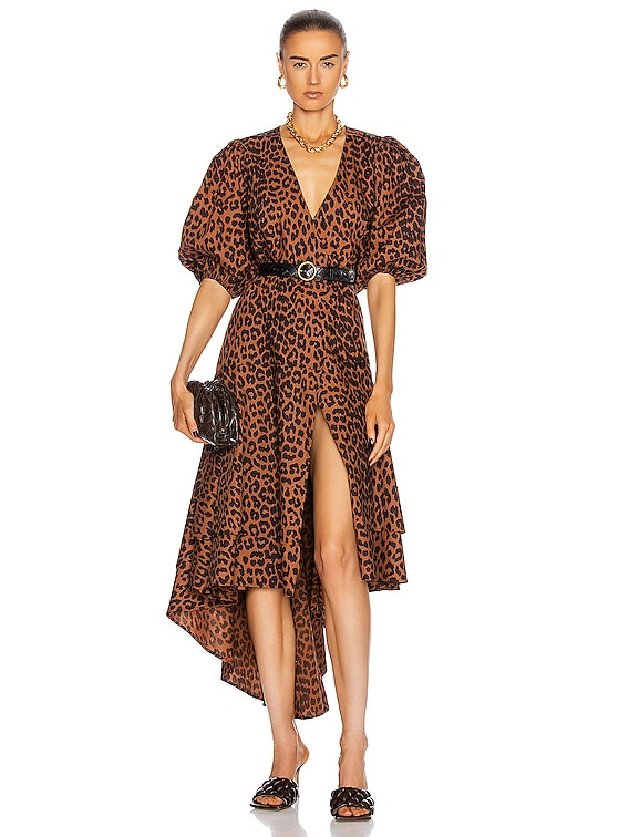Printed Cotton Poplin Dress in Toffee