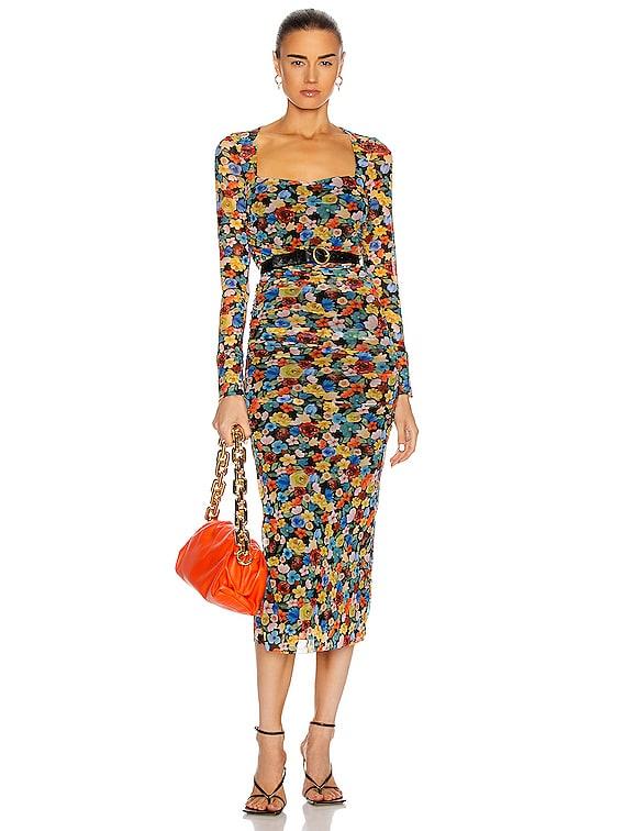 Printed Mesh Dress in Multicolour