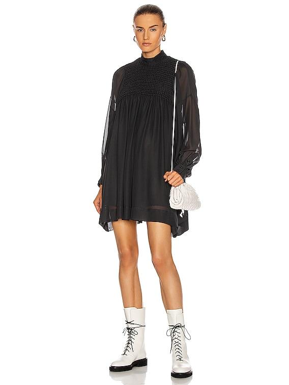 Smock Chiffon Dress in Phantom