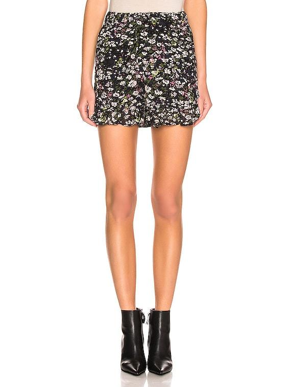 Printed Georgette Shorts in Black