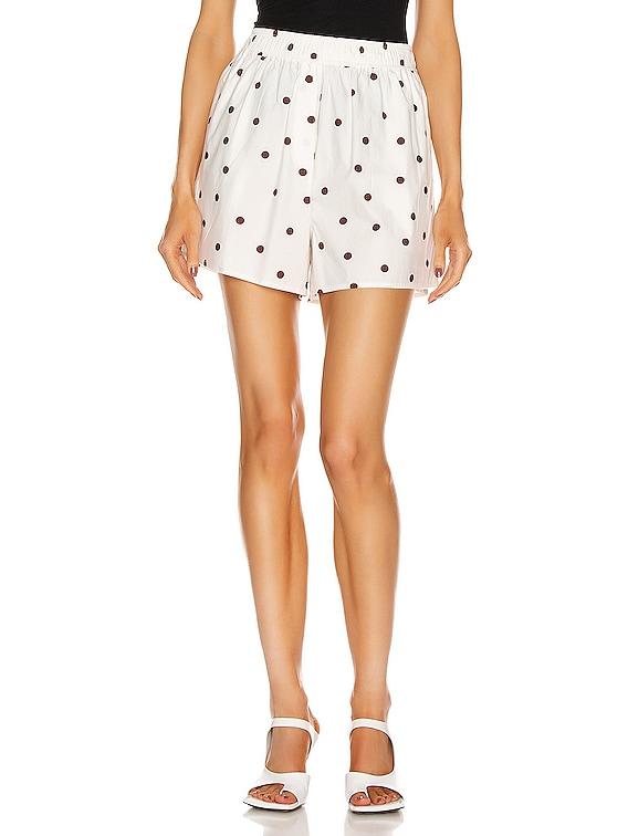 Printed Cotton Poplin Shorts in Egret