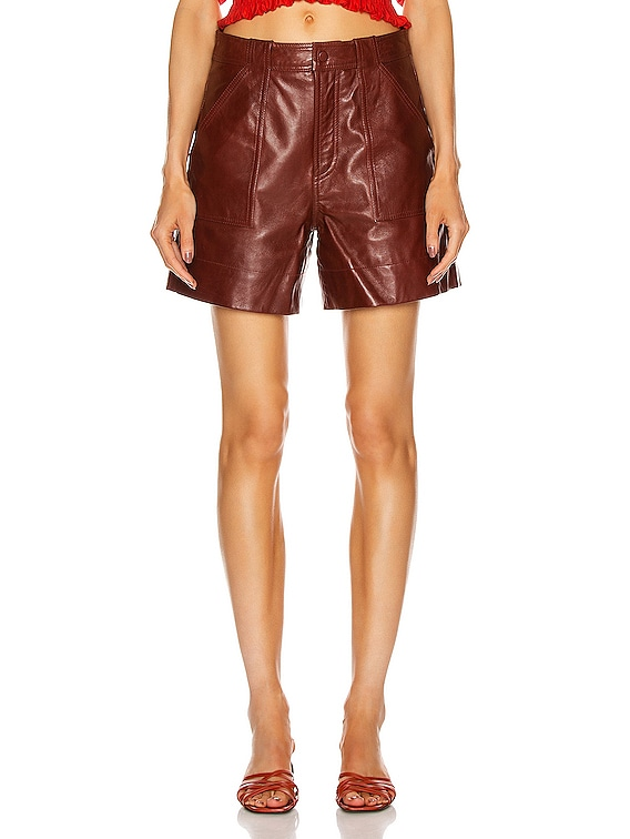 Lamb Leather Shorts in Decadent Chocolate