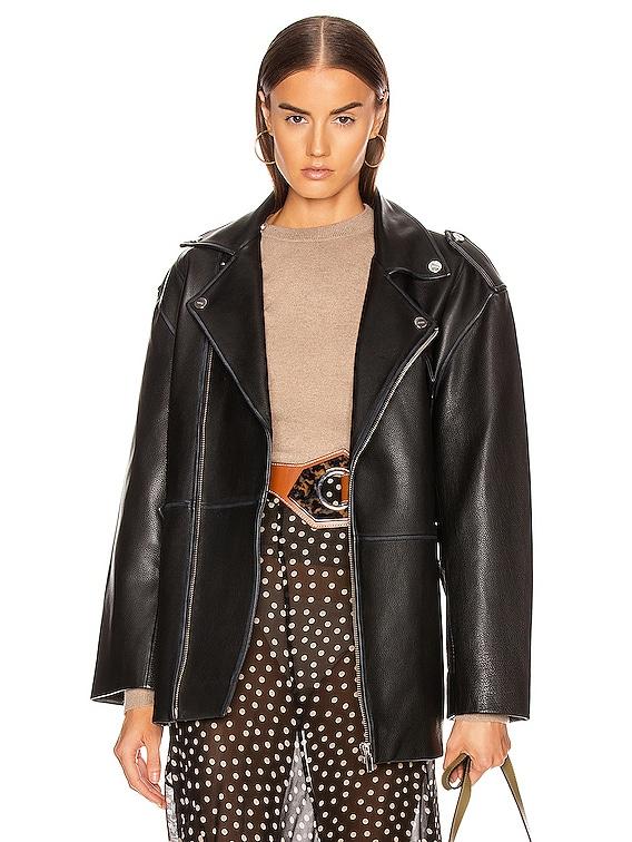 Grain Leather Jacket in Black