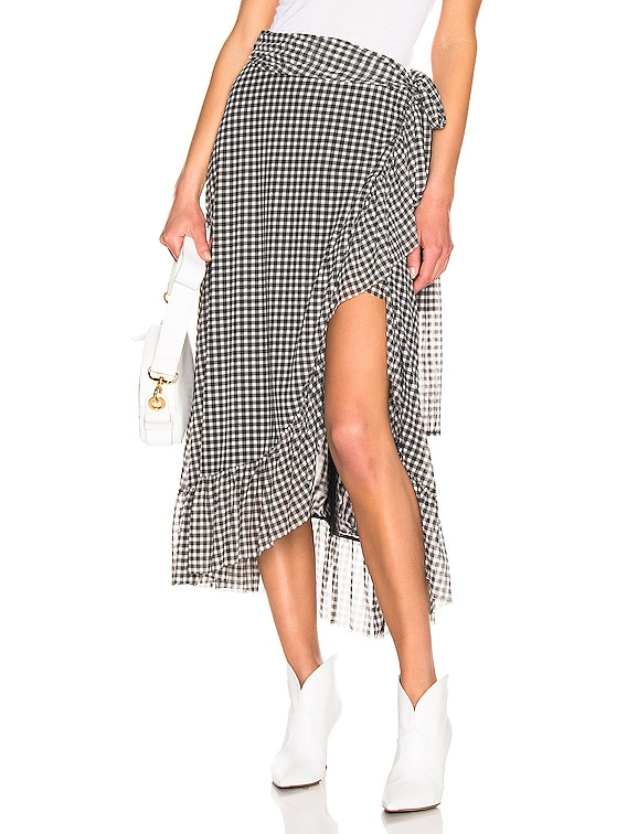 Printed Mesh Skirt in Black