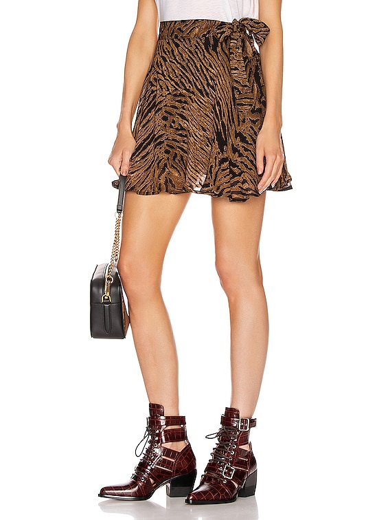 Printed Georgette Mini Skirt in Tiger