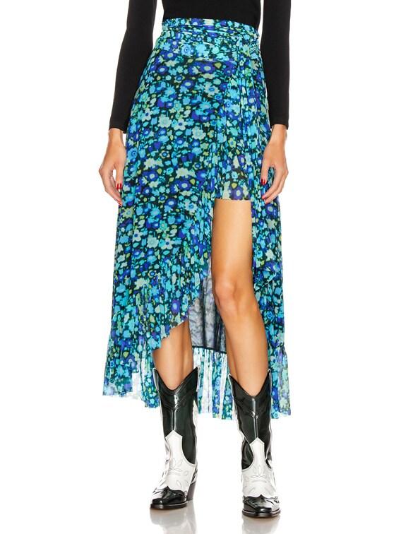 Printed Mesh Skirt in Azure Blue