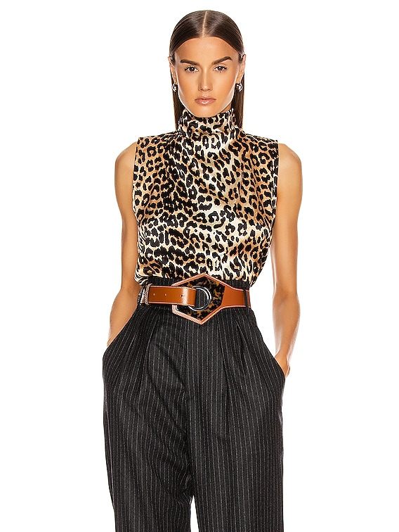 Silk Stretch Satin Top in Leopard