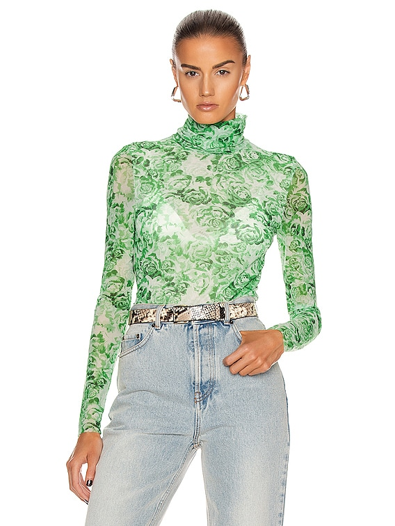 Printed Mesh Top in Island Green