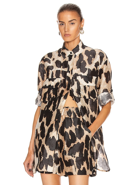 Silk Linen Blouse in Maxi Leopard