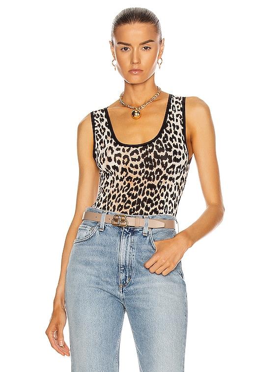 Rayon Bodysuit in Leopard