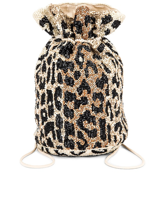 Hand Beaded Accessories Bag in Leopard