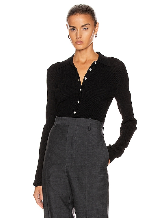 Basel Knit Polo Top in Black