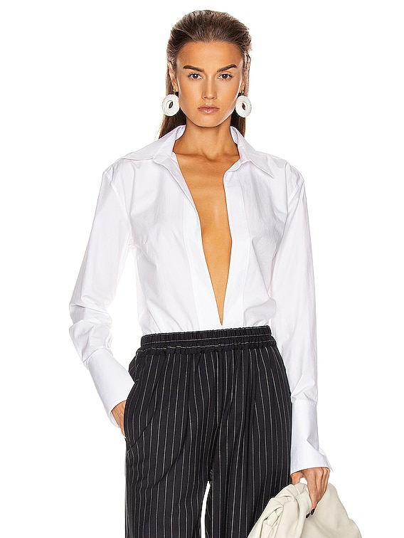 Serena Deep V Shirt in White