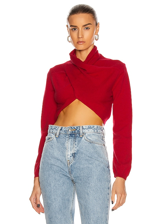 Nelson Cropped Wrap Top in Red
