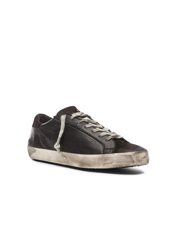 Superstar Leather Sneakers in Black
