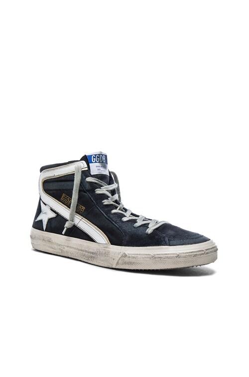 Suede Slide Sneakers in Navy Denim