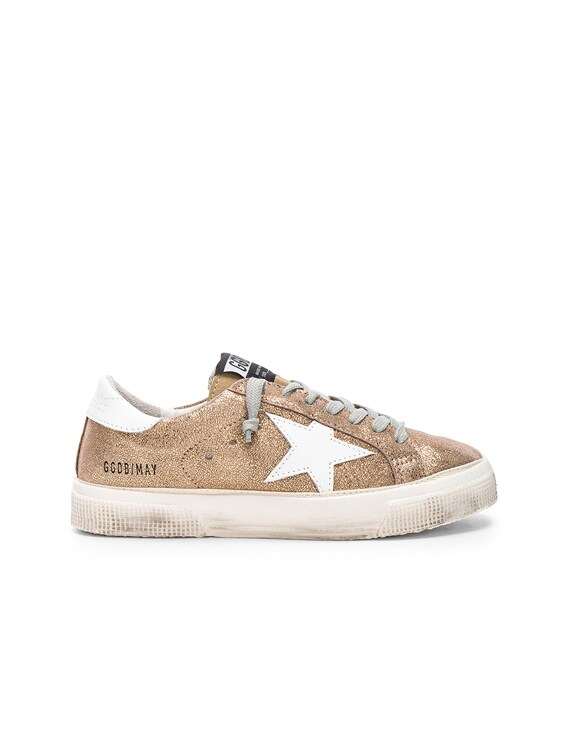 Golden Goose May Sneakers in Gold Crack
