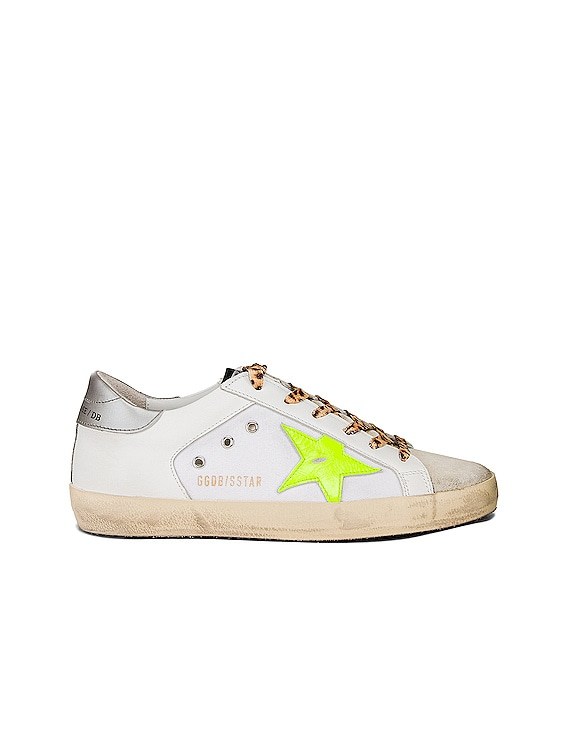 Leopard Lace Superstar Sneakers in White Canvas & Fluorescent