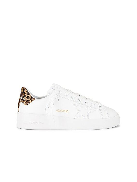 Pure Star Sneaker in White & Brown Leopard