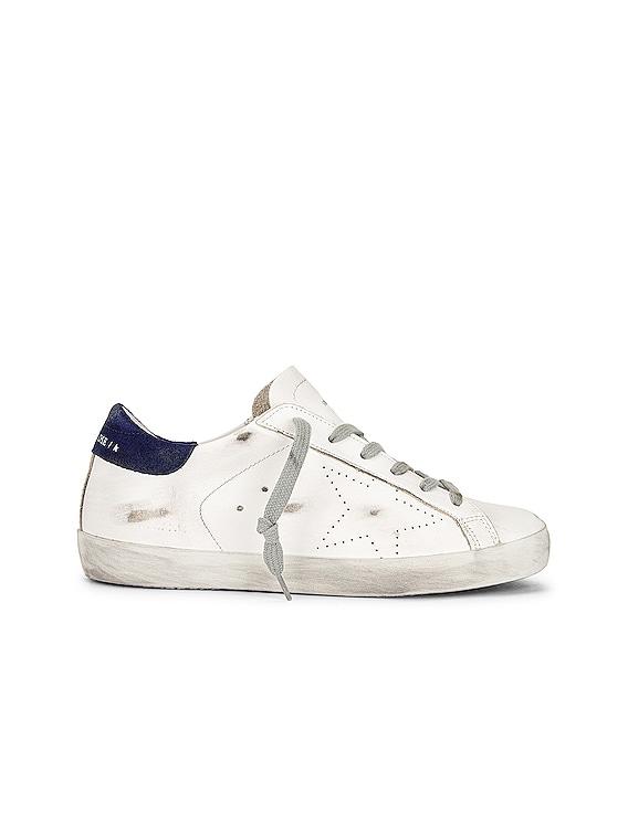 Superstar Sneaker in White & Dark Blue