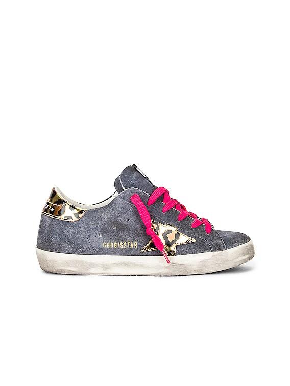 Superstar Sneaker in Grey Blue, Gold, Black & Leopard