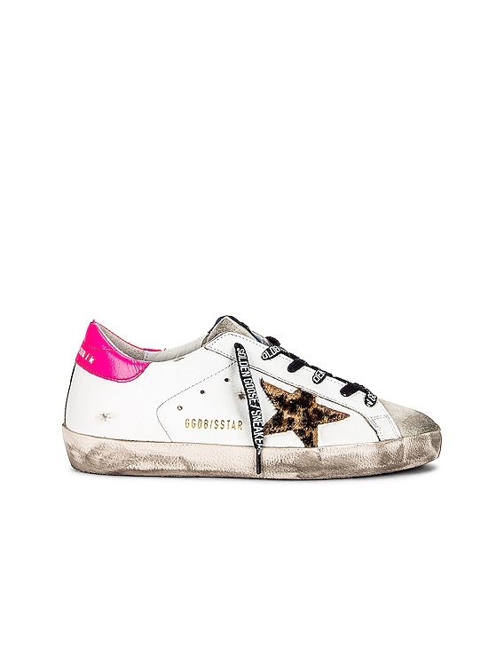 Superstar Sneaker in Ice, White, Brown Leopard & Fuchsia Fluorescent
