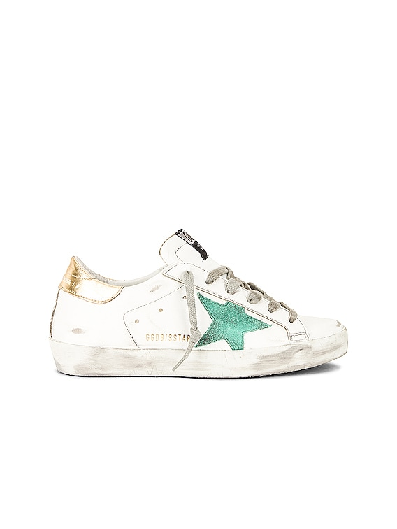 Superstar Sneaker in White, Green & Gold