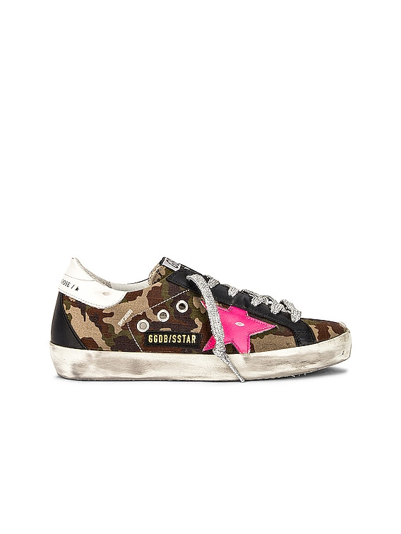 Superstar Sneaker in Green Camouflage, Fuxia Fluorescent, White & Black