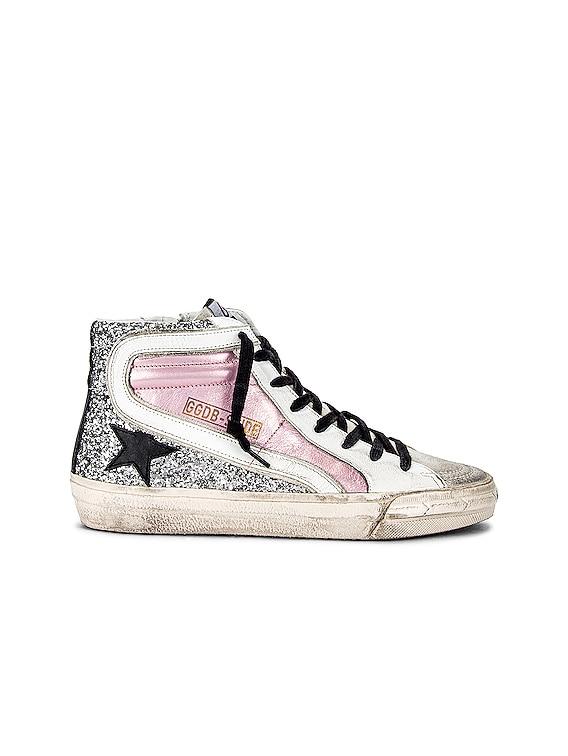 Slide Sneaker in Salmon Pink, Silver, Ice, White & Black