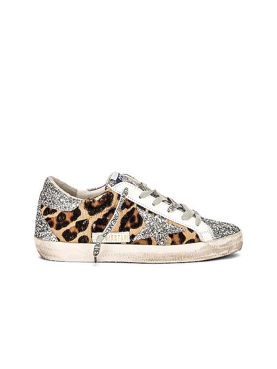 Superstar Sneaker in Silver & Brown Black Leopard