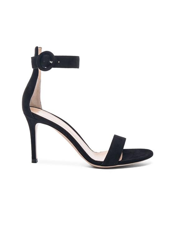 Suede Portofino Heels in Black