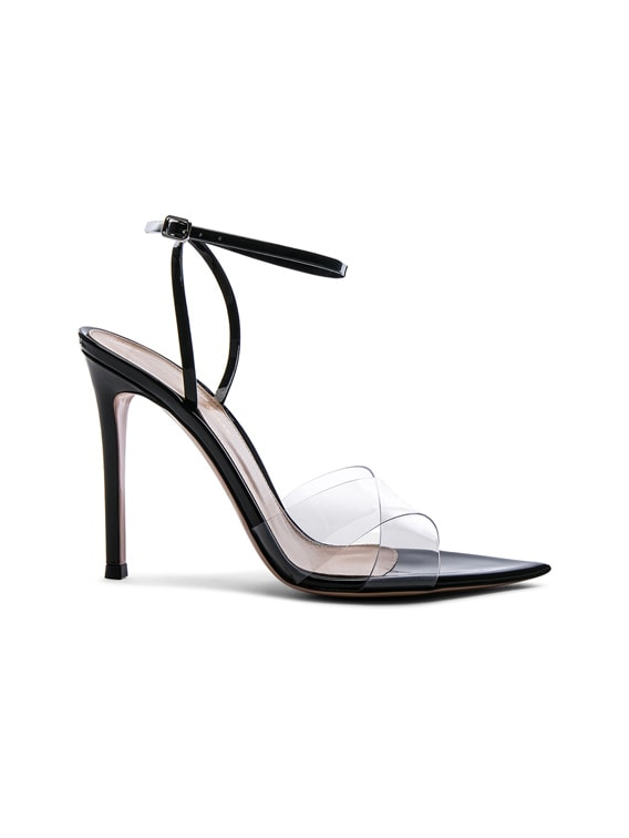 Patent & Plexi Ankle Strap Stark Sandals in Transparent & Black