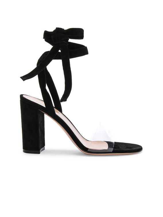 Leather & Plexi Strappy Sandals in Transparent & Black
