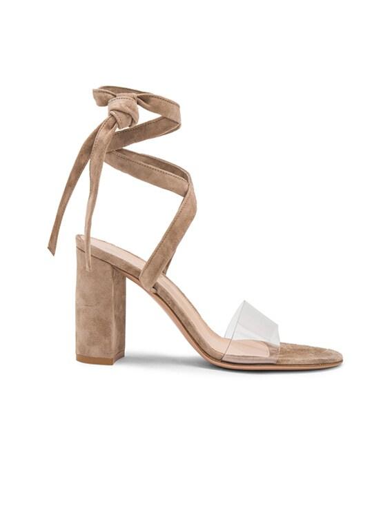 Suede & Plexi Strappy Sandals in Transparent & Bisque