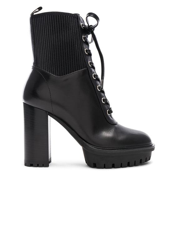 Leather & Eco Stretch Martis Platform Ankle Boots in Black