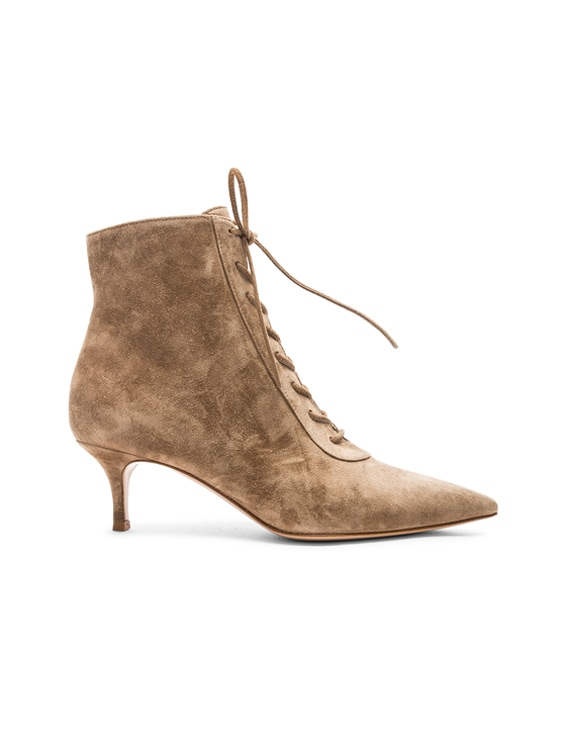 popular brand official best price Gianvito Rossi Suede Kitten Heel Lace Up Ankle Boots in Camel | FWRD