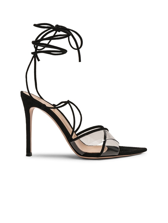 Plexi Camoscio Tie Heels in Trasp & Black