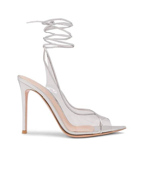 Plexi Nappa Silk Strappy Heels in Trasp & Silver