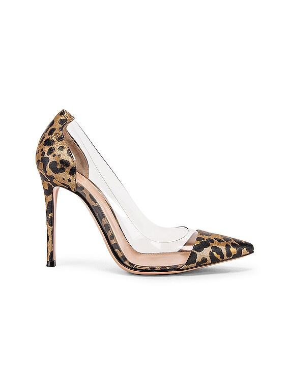 Leopard & Plexi Pumps in Gold Leopard