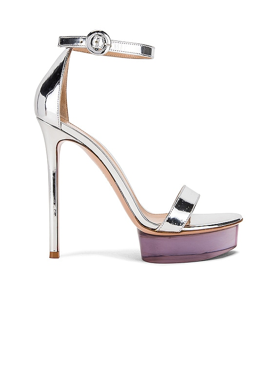 Ankle Strap Platform Heels in Silver