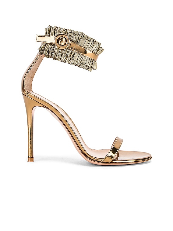 Ruffle Ankle Strap Heels in Gold