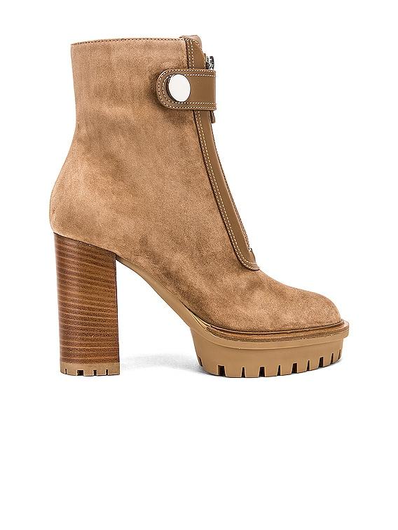 Julian Zipper Ankle Heel Boots in Camel