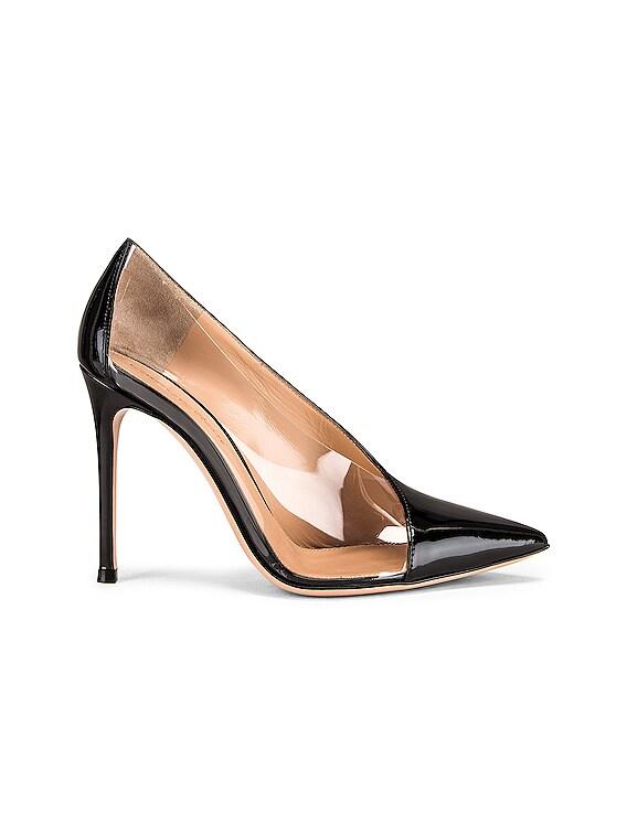 Deela Vernice Plexi Heels in Black & Transparent